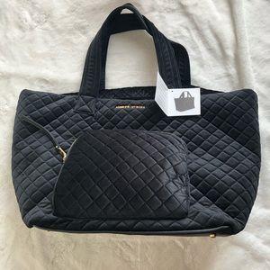 Adrienne Vittadini black velvet quilted duffle NWT